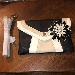 Grace Adele Crossbody / Clutch Ivory & Black Purse